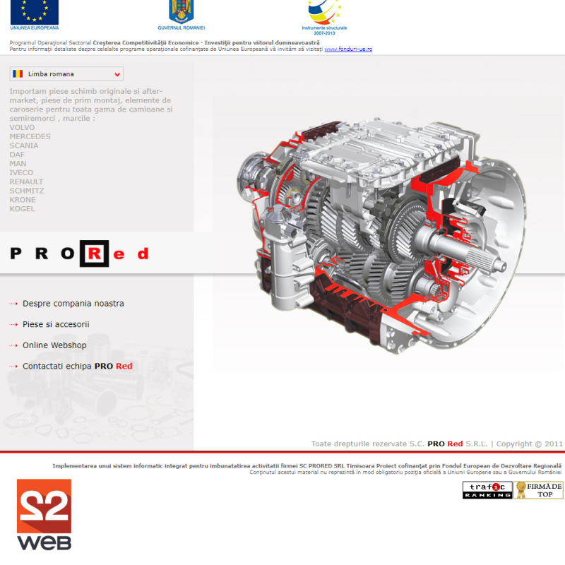 Creare site prezentare ProRed - Automotive si transport
